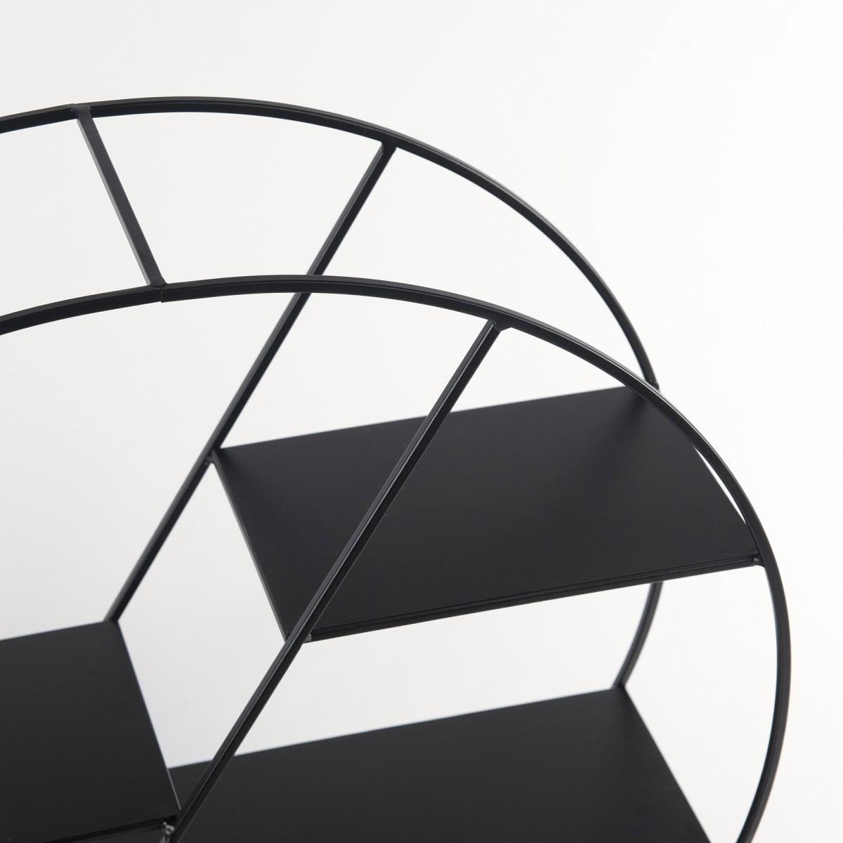 Black Circular Metal Shelf Unit