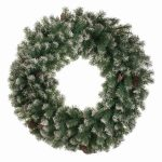 60cm Light Up Frosted Wreath with Cones