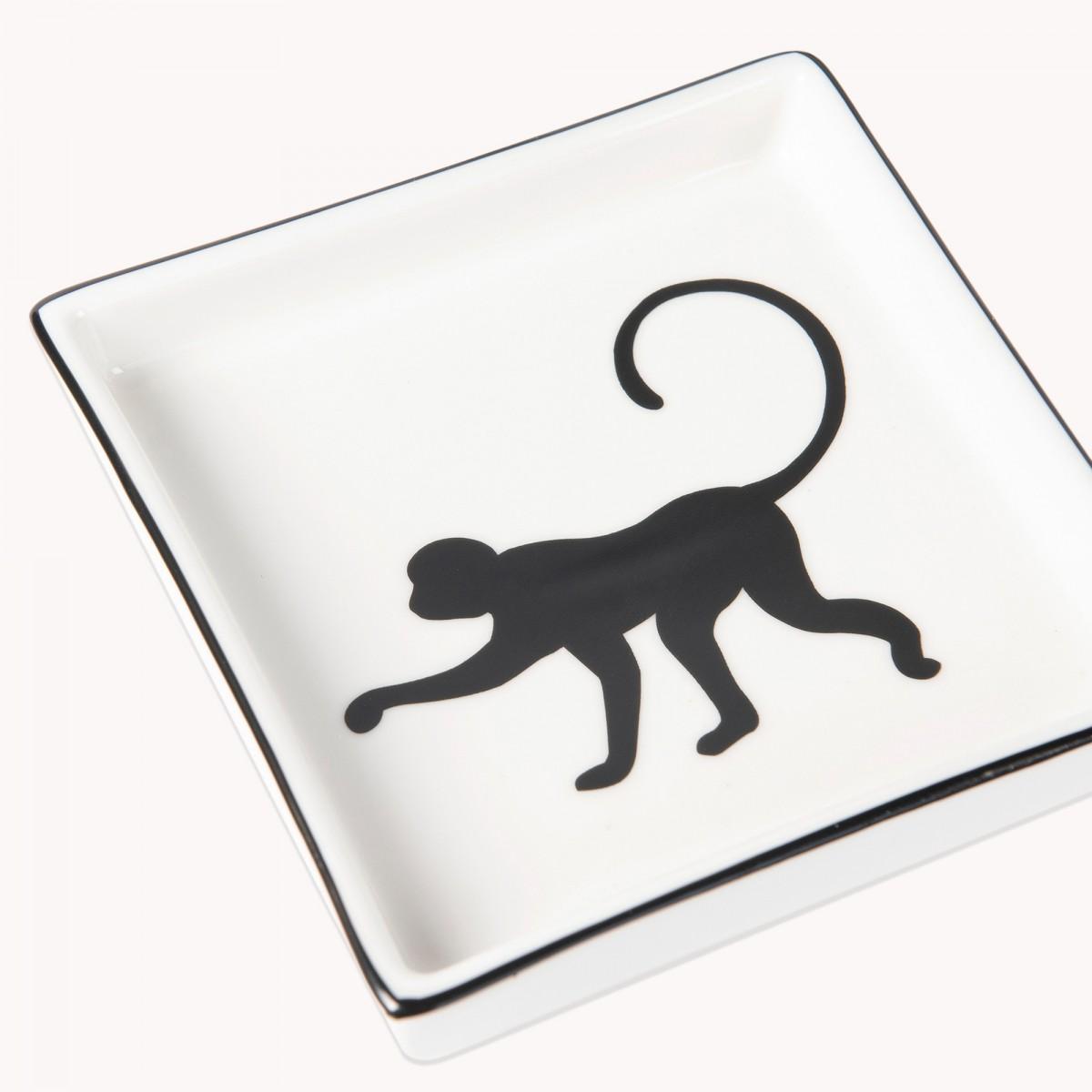 Black & White Ceramic Monkey Trinket Tray