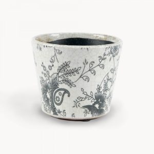 Black Paisley Floral Ceramic Pot