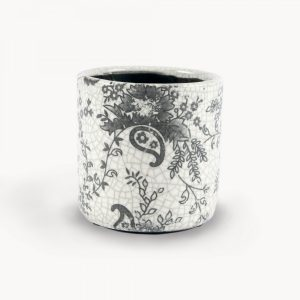 Black Paisley Floral Straight Sided Ceramic Pot
