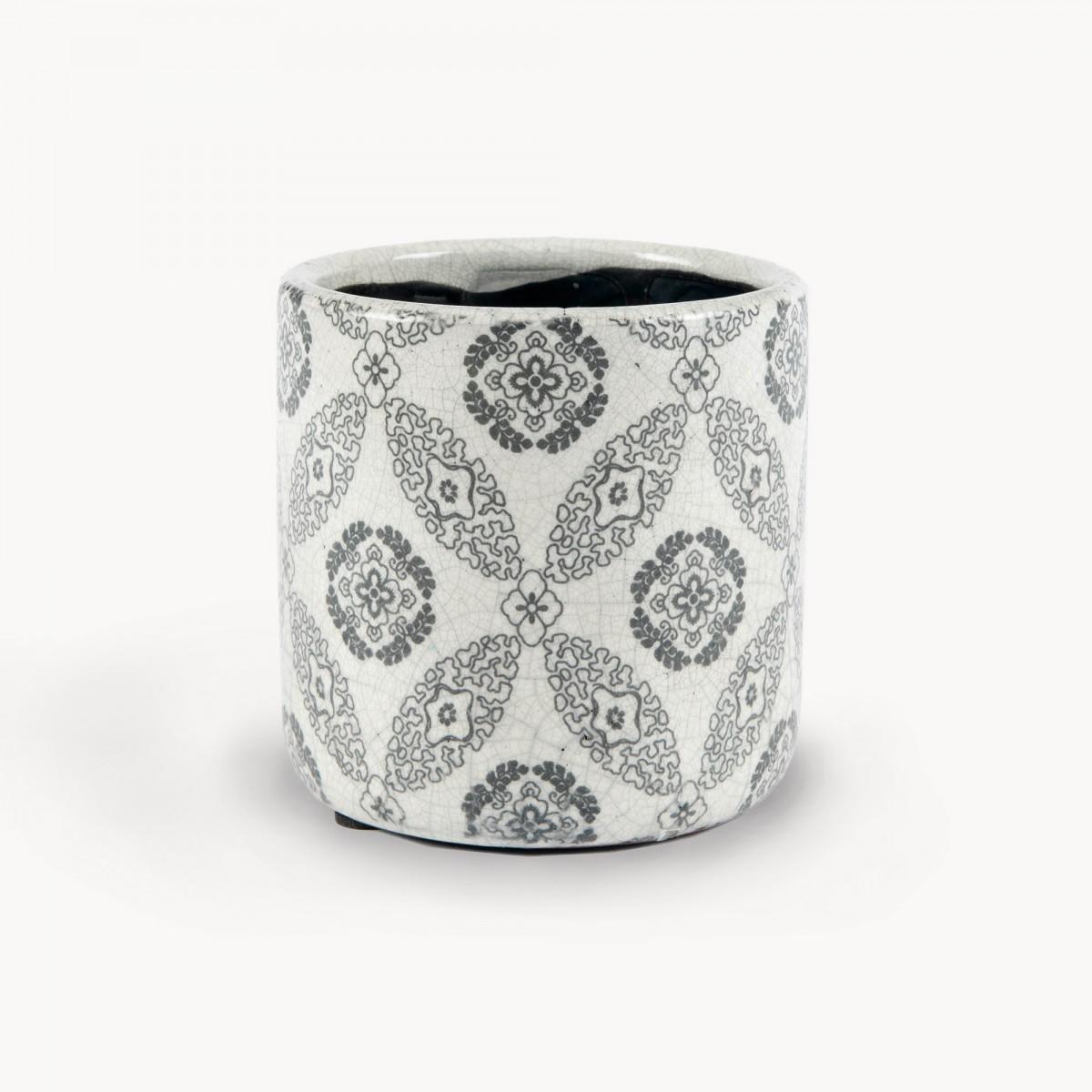 Black Tile Pattern Straight Sided Ceramic Pot