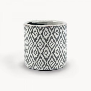 Black Diamond Pattern Straight Sided Ceramic Pot