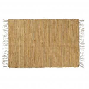 Mustard Cotton Rug with Fringes