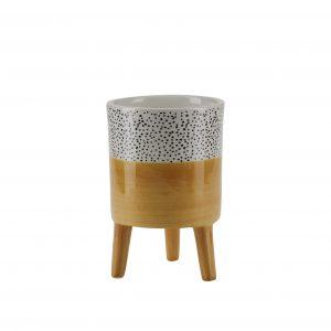 Standing Ceramic Yellow Pot