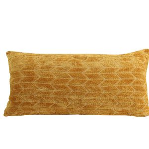 Ochre Tile Embossed Velvet Cushion