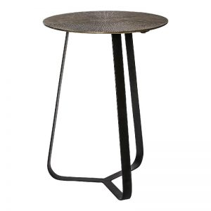 Kae Gold & Black Iron Round Side Table