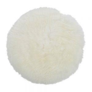 Silky Sheepskin Round Seat Pad in Ivory