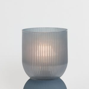Small Blue Grey Ribbed Glass Battery Powered Table Lamp