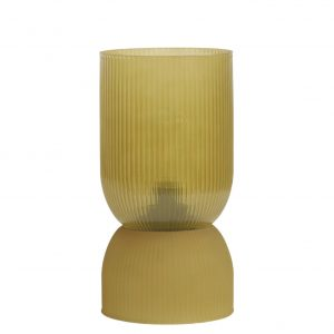 Ochre Ribbed Glass Battery Powered Table Lamp