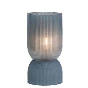 Blue Grey Ribbed Glass Battery Powered Table Lamp