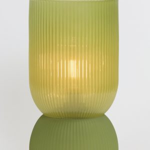 Olive Green Ribbed Glass Battery Powered Table Lamp
