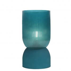 Petrol Ribbed Glass Battery Powered Table Lamp