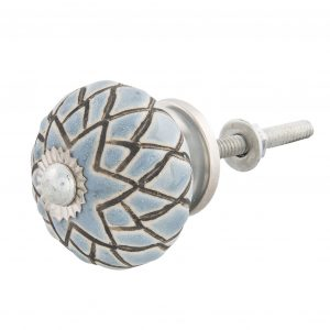 Grey Blue Ceramic Star Flower Knob
