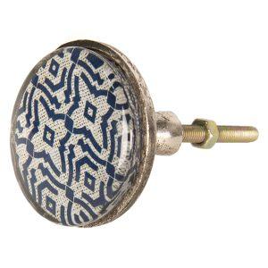 Blue Flower & Diamond Print Flat Knob