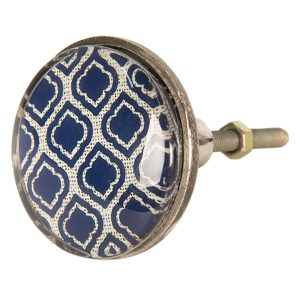 Blue Arabia Print Flat Knob
