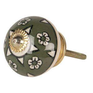 Olive Green Ceramic Flower Print Knob