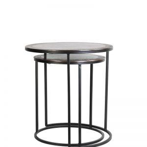 Antique Copper & Black Side Tables Set of 2