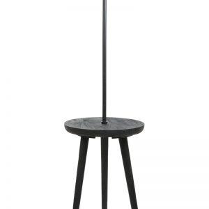 Black Wood Side Table Floor Lamp