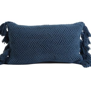 Blue Herringbone Tassel Cushion 60x30