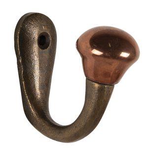 Brass Single Hook with Copper Knob
