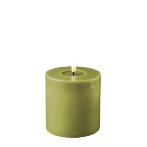 Battery Operated LED Candle 10x10cm Olive