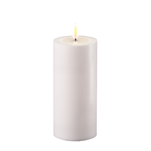 Outdoor Battery Operated LED Candle 7.5x15cm White