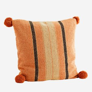 Summer Stripe Cushion with Pom Poms