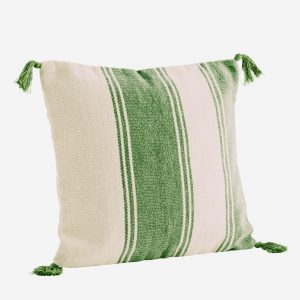 Cotton Green Stripe Cushion with Tassels