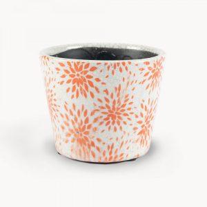 Orange Flower Pattern Botanical Ceramic Pot