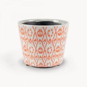 Orange Abstract Pattern Botanical Ceramic Pot