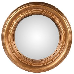 Large Gold Convex Round Wall Mirror