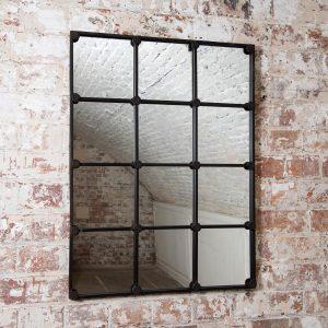 Industrial Grid Iron Mirror