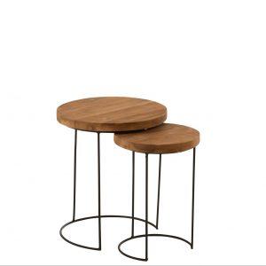Set of 2 Round Teak Wood Side Tables