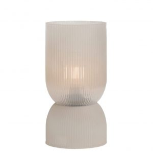 Light Grey Ribbed Glass Battery Powered Table Lamp