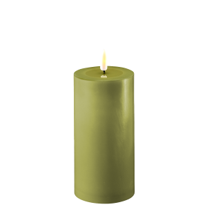 Battery Operated LED Candle 7.5cmx15cm Olive