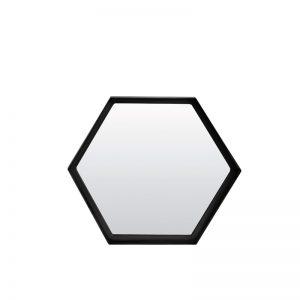 Medium Hexagonal Black Metal Framed Mirror