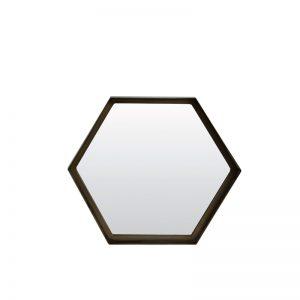 Medium Hexagonal Bronze Metal Framed Mirror