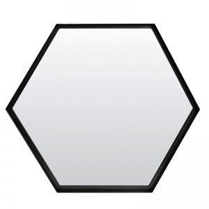 Large Hexagonal Black Metal Framed Mirror