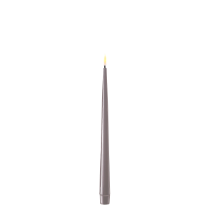 Pack of 2 Battery Operated LED Tapered Dinner Candles Grey