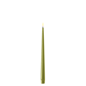 Pack of 2 Battery Operated LED Tapered Dinner Candles Olive Green