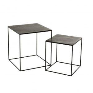 Set of 2 Antique Black/Green Square Oxidized Aluminium/Iron Side Tables