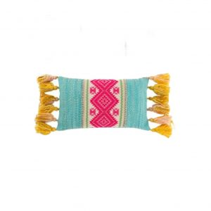 Turquoise Cotton Mix Peruvian Cushion with Tassels