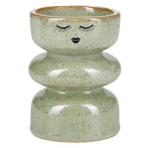 Green Closed Eyes Candlestick