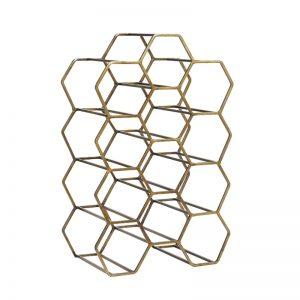 Antique Bronze Hexagonal Wine Rack