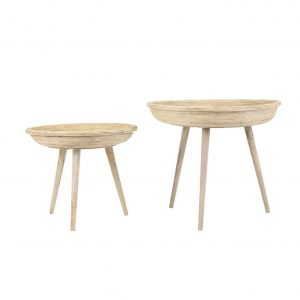 Set of Two Natural Rattan Side Tables