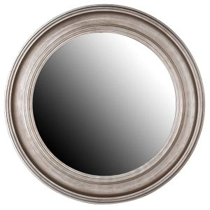 Round Distressed Silver Wall Mirror