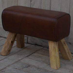 Chestnut Brown Leather Pommel Stool