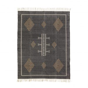 Black & Tan Handwoven Cotton Rug With Fringes