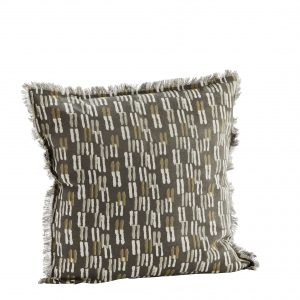 Black & Olive Dash Pattern Cushion